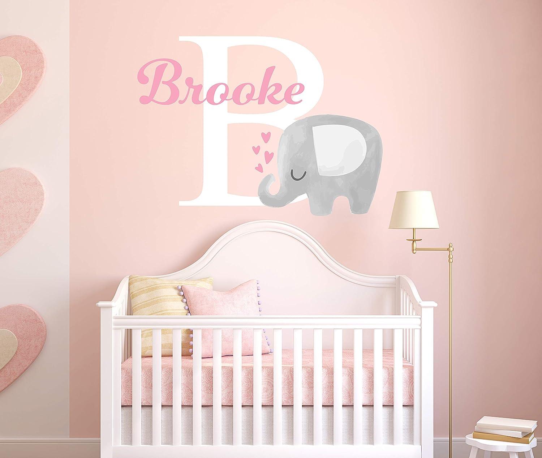 Custom Elephant Name Wall Decal for Girls - Baby Room Decor - Nursery Wall Decals - Elephant Wall Decor Vinyl Sticker