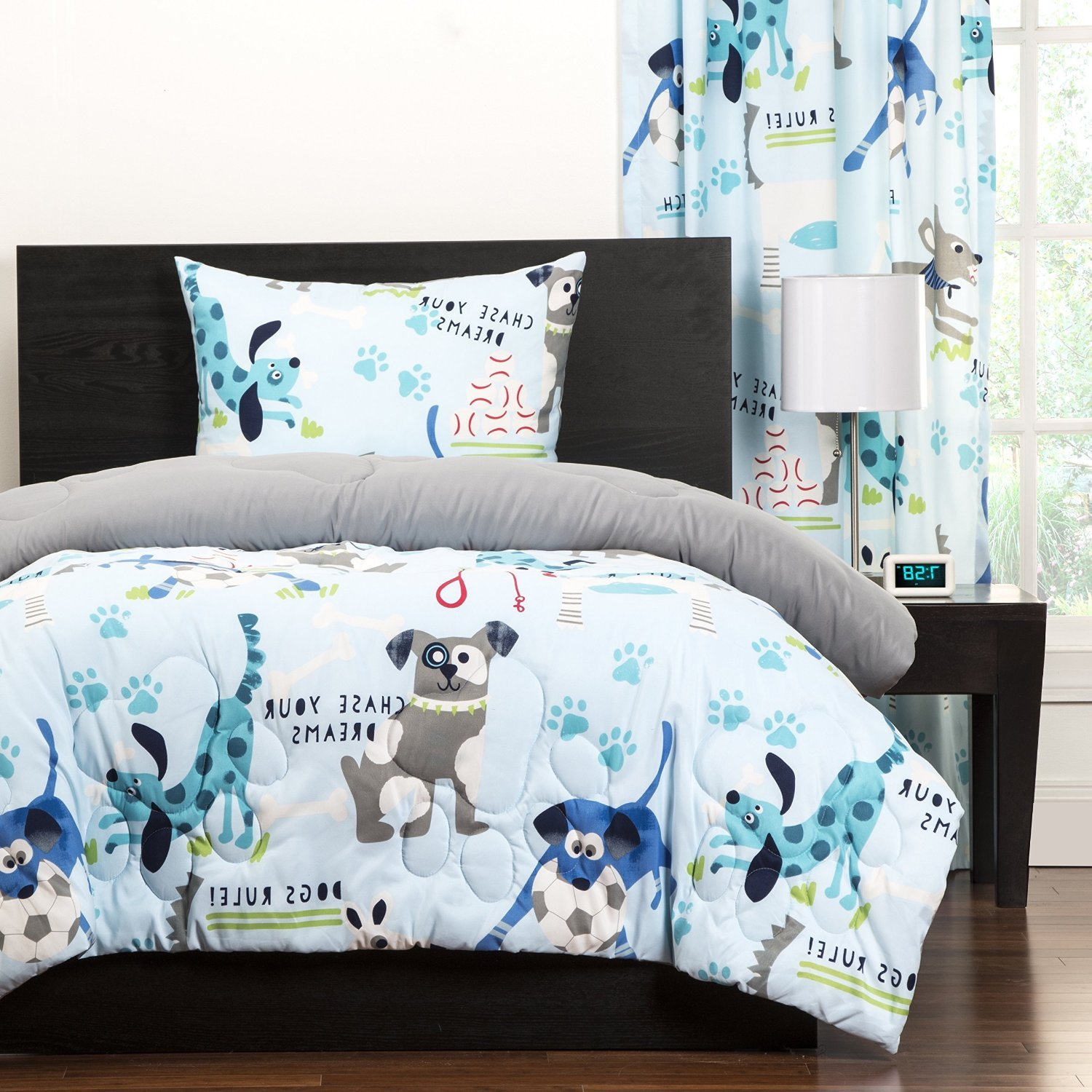 3 Piece Kids Puppies Dogs Comforter Full Queen, Cute Adorable Childrens Playful Bedding , Puppy Love Little Doggies Blue Teal White