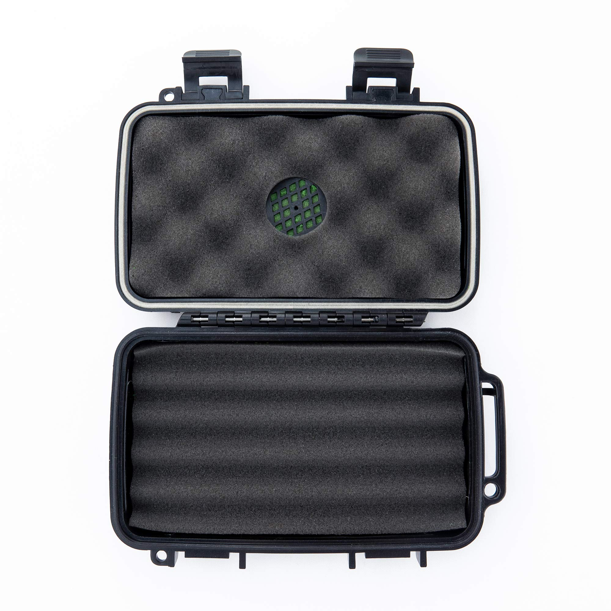 Sir Drake's Hard Plastic Travel Humidor Cigar Case - Premium Rugged Hard Shell Case - Built in Foam Humidor and Holds Up to 5 Cigars (4'' x 6'')