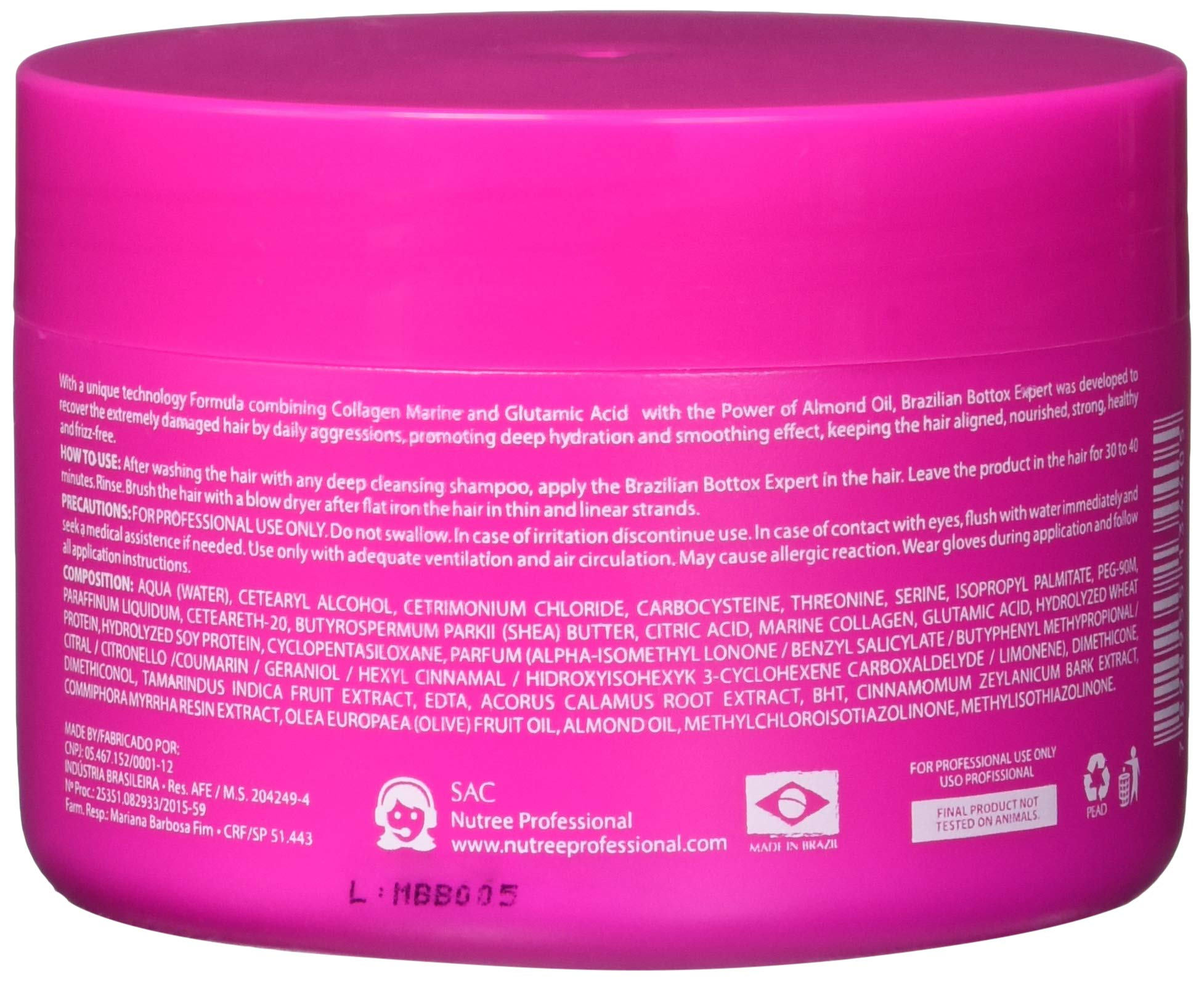 Brazilian Hair Bottox Expert Thermal Mask 8.8 oz - Contains Marine Collagen and Almond Oil - Formaldehyde-Free - Repairs the Hair Elasticity and Flexibility, Softens, Moisturizers, Adds Shine by Nutree Professional (Image #2)