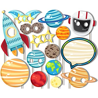 Outer Space Solar System Photo Booth Props Kit - Party Camera Props Fully Assembled by Birthday Galore: Toys & Games