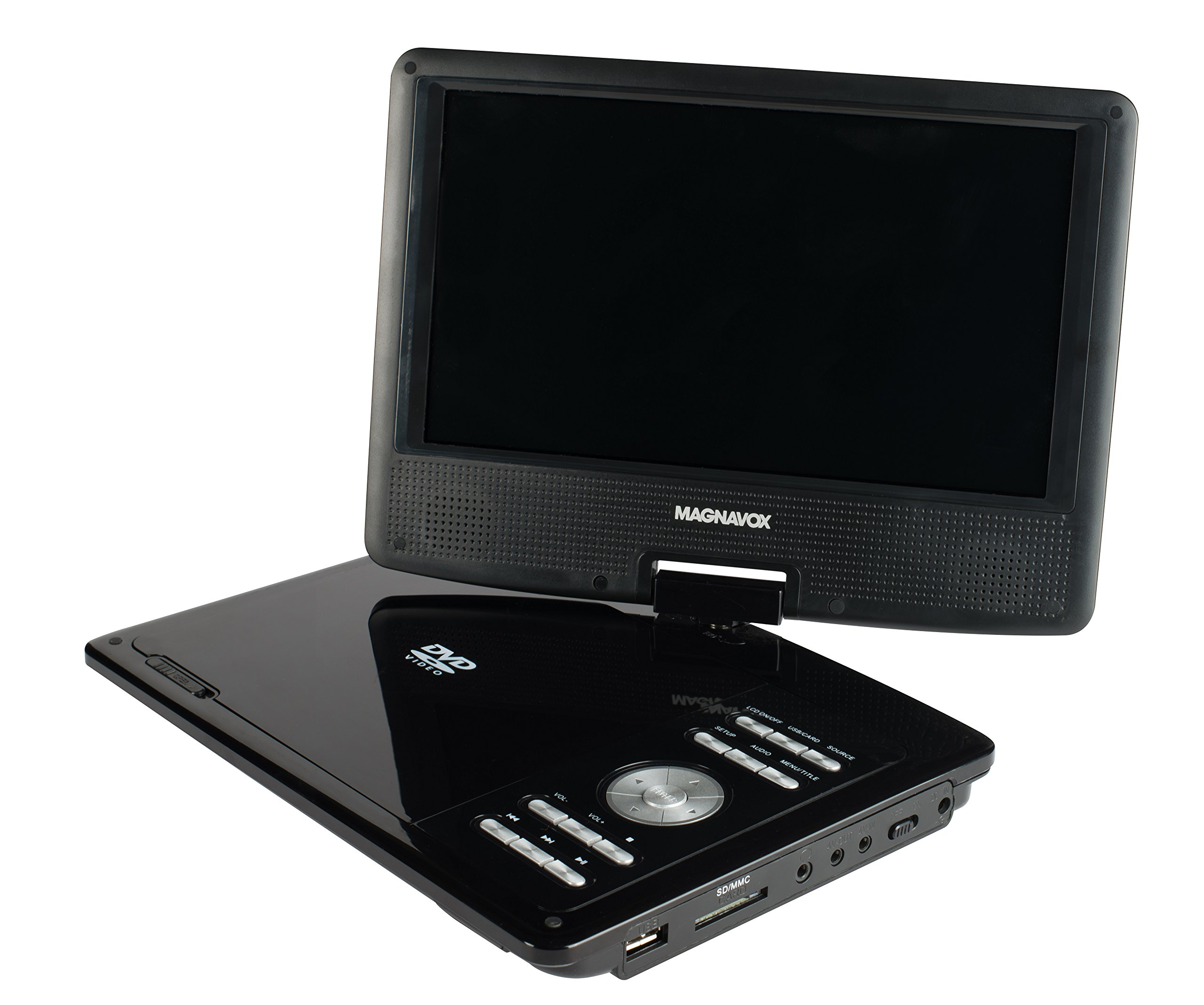 Magnavox 9 Inch TFT Swivel Screen Portable DVD/CD Player With USB/SD card slot, Remote And Car Adapter Rechargeable Battery