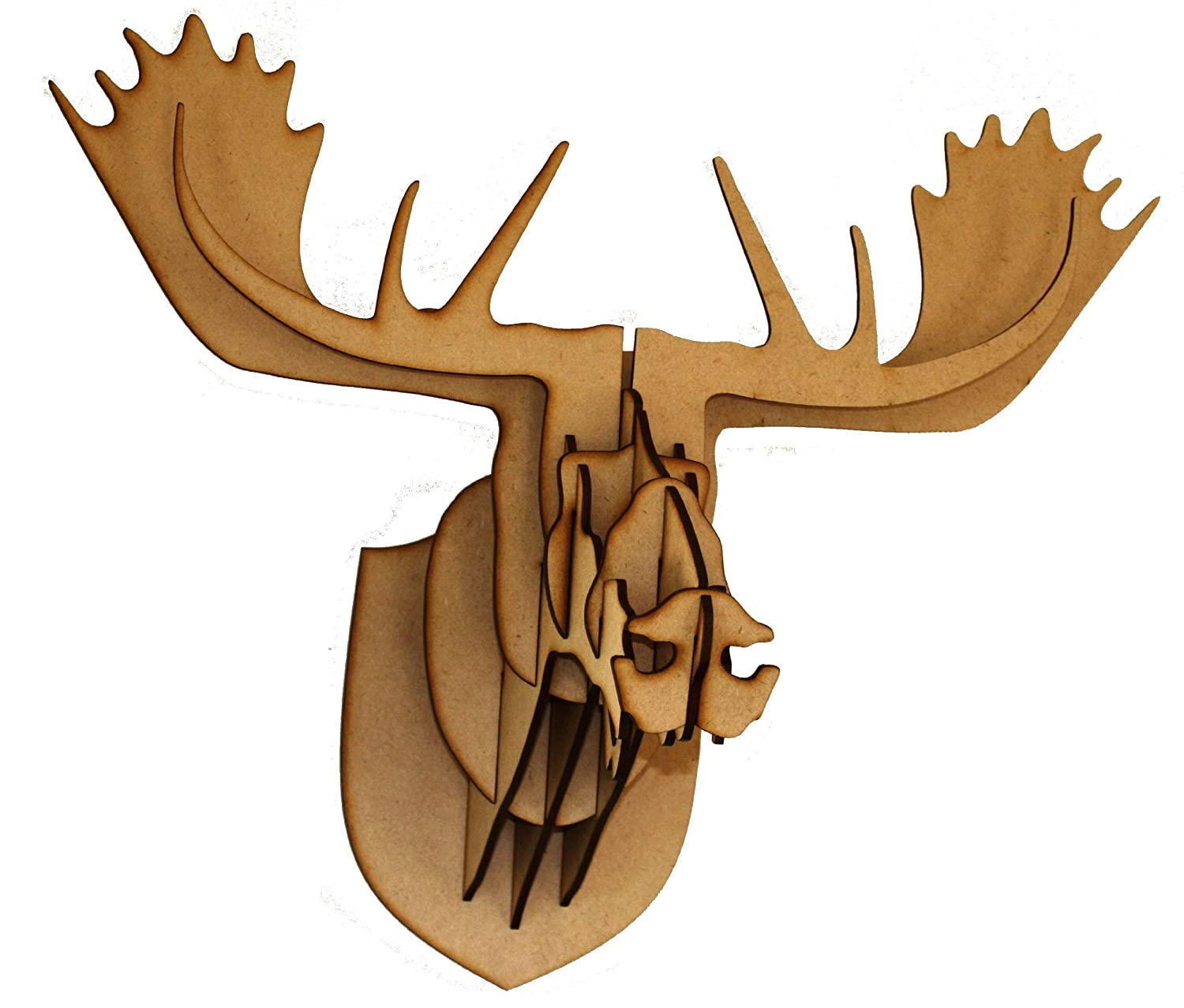 wooden plain mdf moose deer stag head 3d craft trophy contemporary