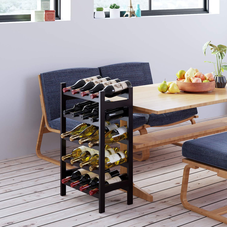 HOMECHO 20 Bamboo Wine Display Bottles Storage Rack Free Standing with 5-Tier Shelf Wobble-Free Retro Color HMC-BA-003 by HOMECHO (Image #5)