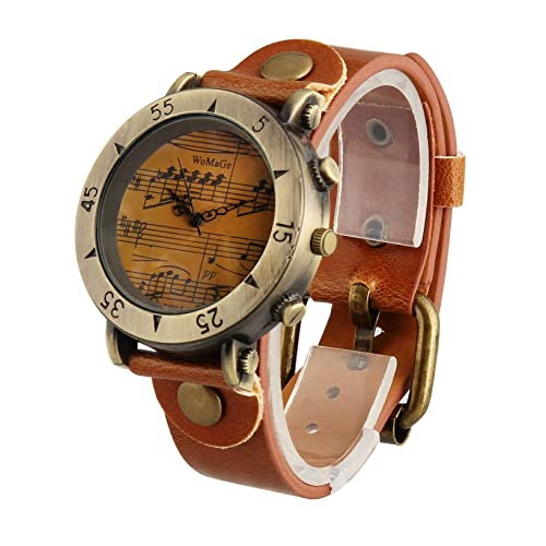 ShoppeWatch Mens Watch Brown Dial Music Notes Symbols Leather Band Reloj Hombre SW568-1LTBR