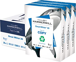 product image for Hammermill Printer Paper, Great White 30% Recycled Paper, 8.5 x 11 - 3 Ream (1,500 Sheets) - 92 Bright, Made in the USA