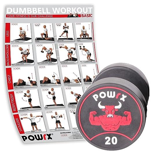 POWRX Profesional Redondo Pesas Individualmente Incluye Workout I ...