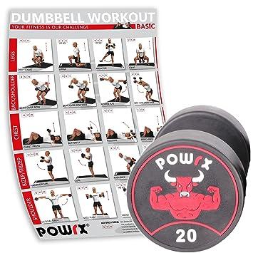 POWRX Profesional Redondo Pesas Individualmente Incluye Workout I Goma Mancuernas Revestimiento olores 5 - 30 kg I Cromado y moleteados I Studio Calidad: ...