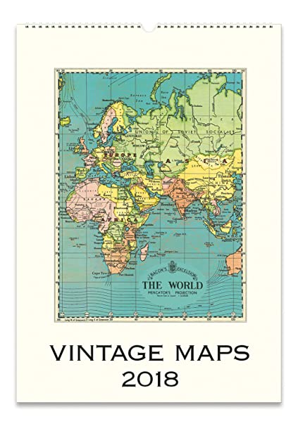 Amazon cavallini papers vintage maps 2018 wall calendar home cavallini papers vintage maps 2018 wall calendar gumiabroncs