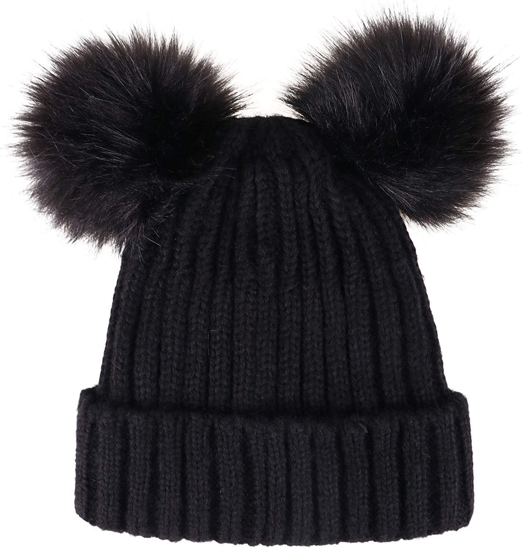 Black and Slate Cable Beanie Faux Fur Pom Pom