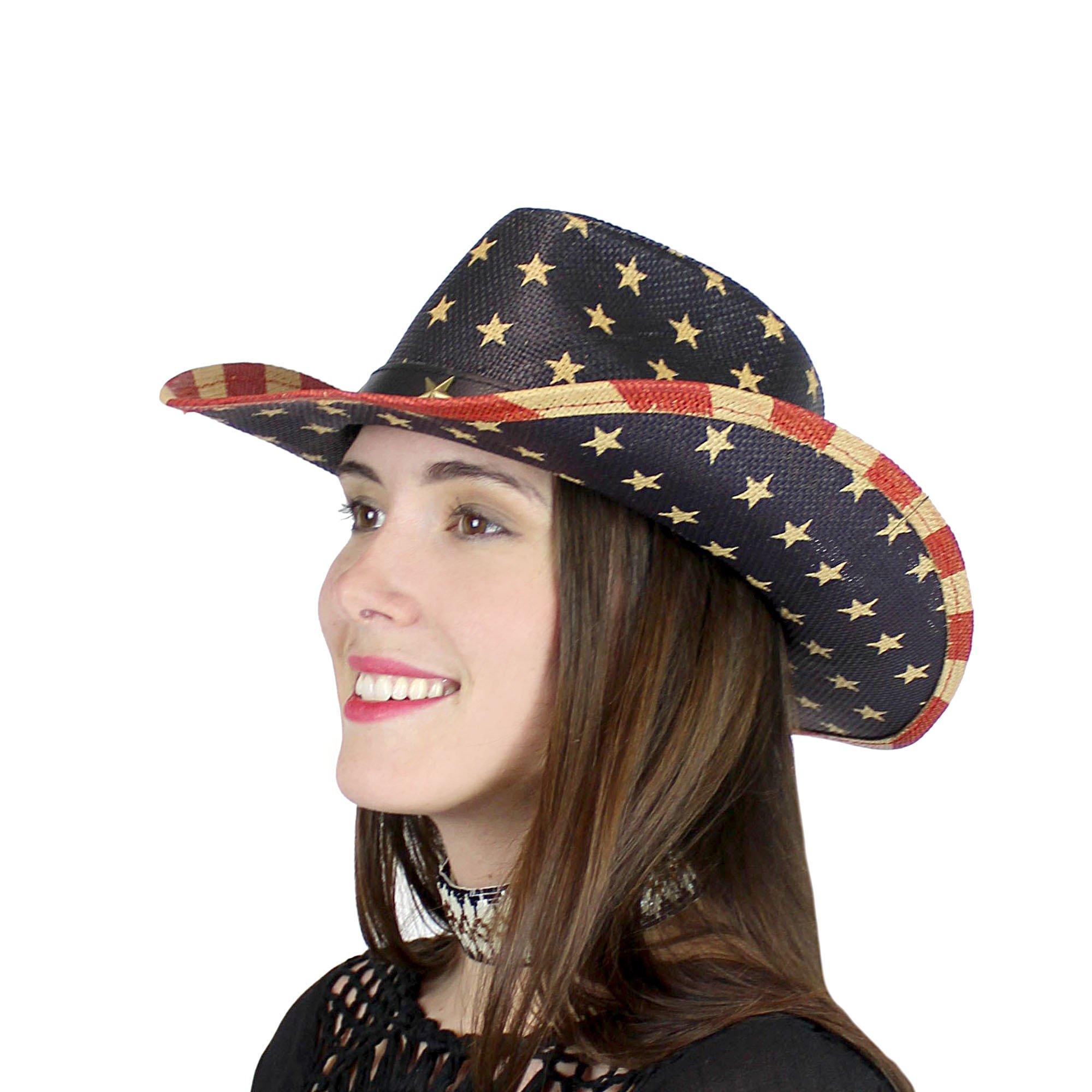 EchoMerx USA American Flag Western Straw Cowboy Hat Stars, Old Glory
