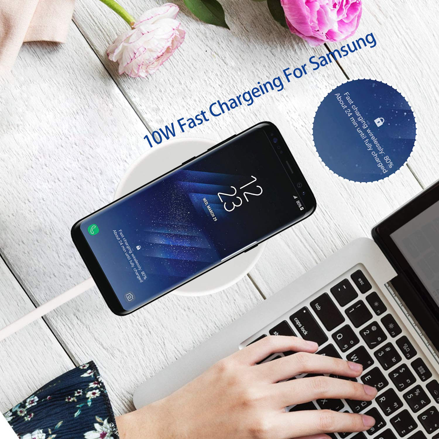 Fast Wireless Charger for Samsung Galaxy S8/S8+/S7/S7 edge/S6 edge+, and Note 5, Qi Wireless Charging Pad for iPhone X/iPhone 8/8 Plus and other Qi-enabled Devices - Upgraded Version