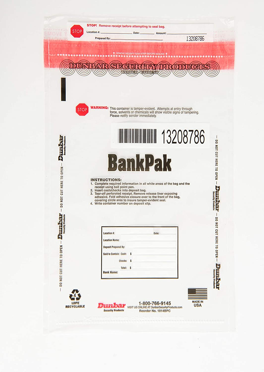 Clear, 8 x 11 x100 Dunbar Security Products BankPak Deposit Bags