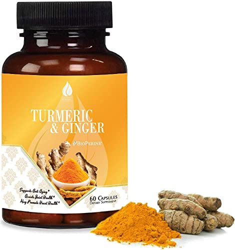 Turmeric Ginger – 95 Curcuminoids with BioPerine. Turmeric and Ginger Curcumin Supplements with Black Pepper Extract for Absorption. Supports Anti-inflammatory Response for Joint Pain