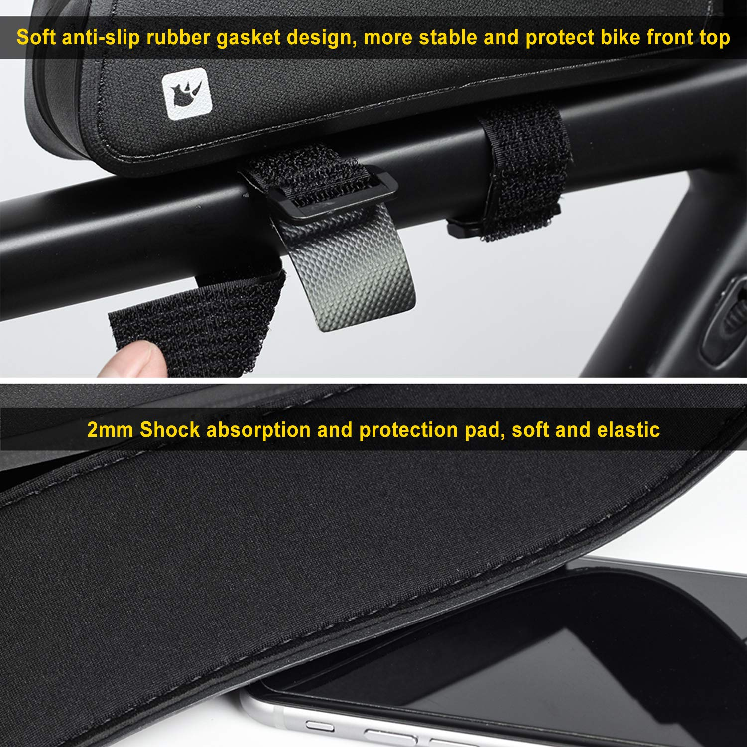 Bike Frame Bag Water Resistance Front Top Tube Bags Bicycle Punch with Shake Reduce Cushions for Professional Cycling Accessories by Sodee (Image #4)