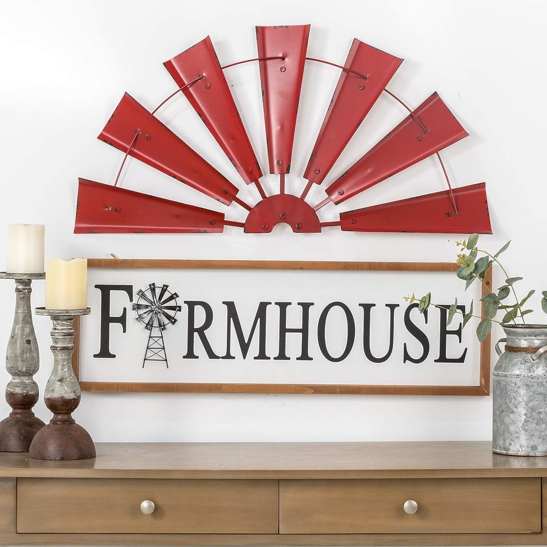 Glitzhome 22 Farmhouse Galvanized Windmill Wall Sculpture Home Decor Rustic Metal Rustic Wall Art Decoration Begin