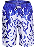 Aibrou Men's Beach Shorts, Quick Dry Printed Surfing Board Shorts Trunks Swim Wear