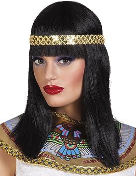 Peluca negra media melena diadema reina del Nilo mujer - Única