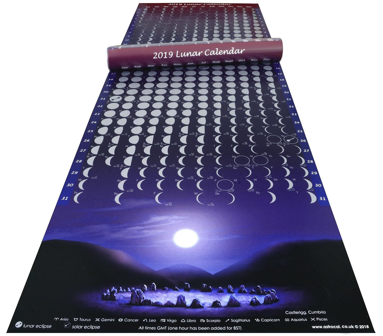 Moon Calendar Silver Lunar Phase Poster 2019