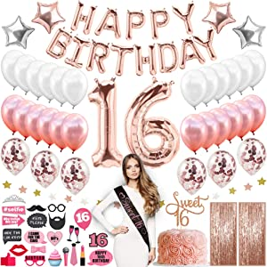 Sweet 16 Birthday Decorations With Photo Booth Backdrop and Props – Rose Gold Sweet 16 Decorations – Sweet 16th Birthday Party Supplies With Happy Birthday Banner, 16, Confetti and Mylar Balloons Sweet Sixteen