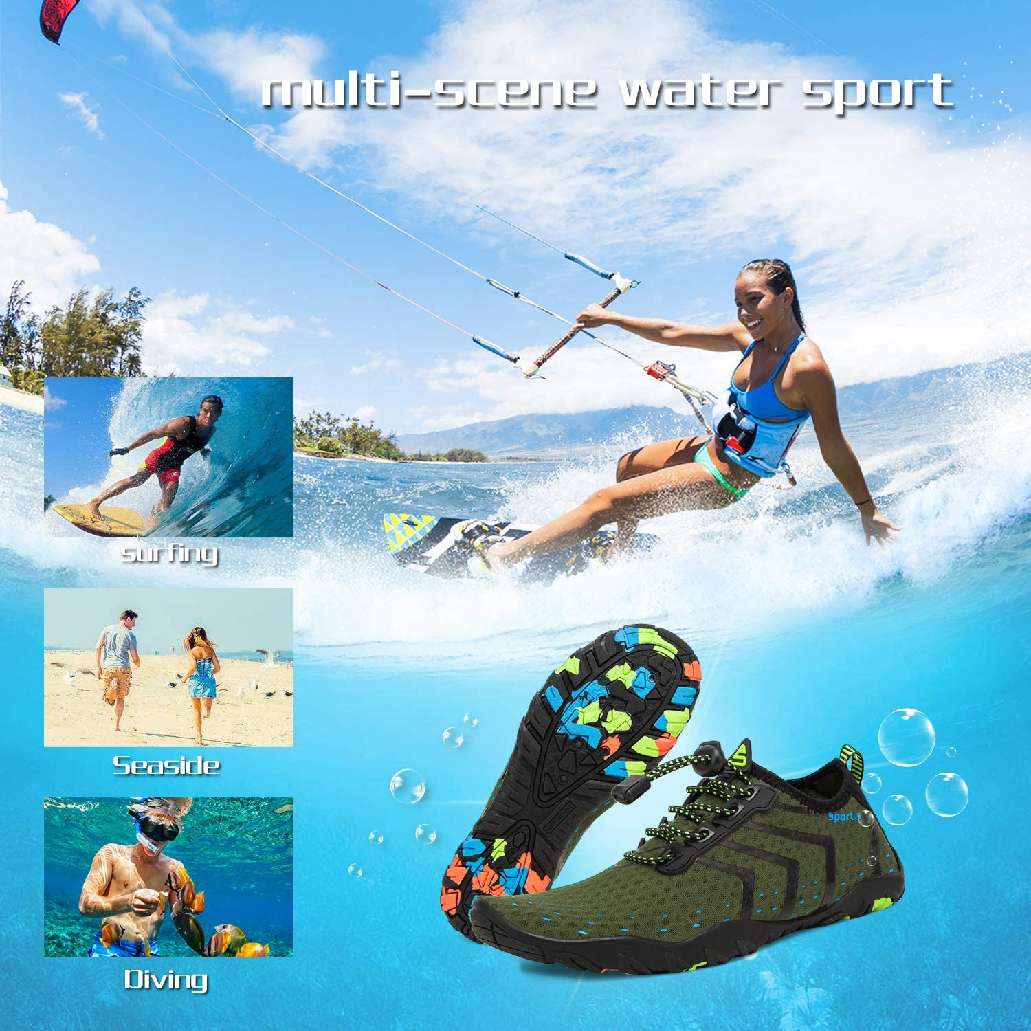 Water Shoes Mens Womens Beach Quick Dry Swim Barefoot Shoes Aqua Sock Outdoor Athletic Pool Shoes for Kayaking Surfing Fishing Swimming Yoga