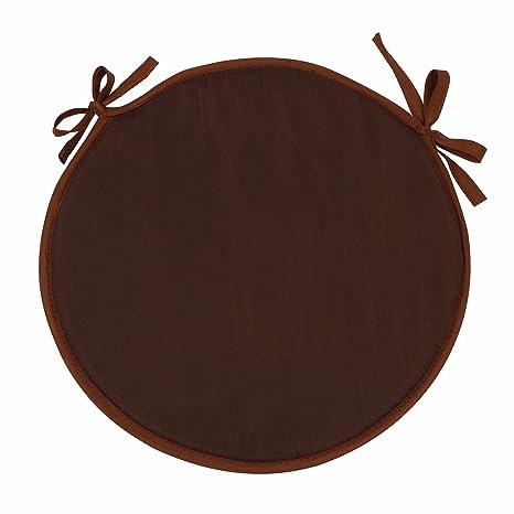 SIMPVALE - Juego de 4 Cojines Redondo para sillones sillas Cojines de sillas diámetro 38 cm, marrón café