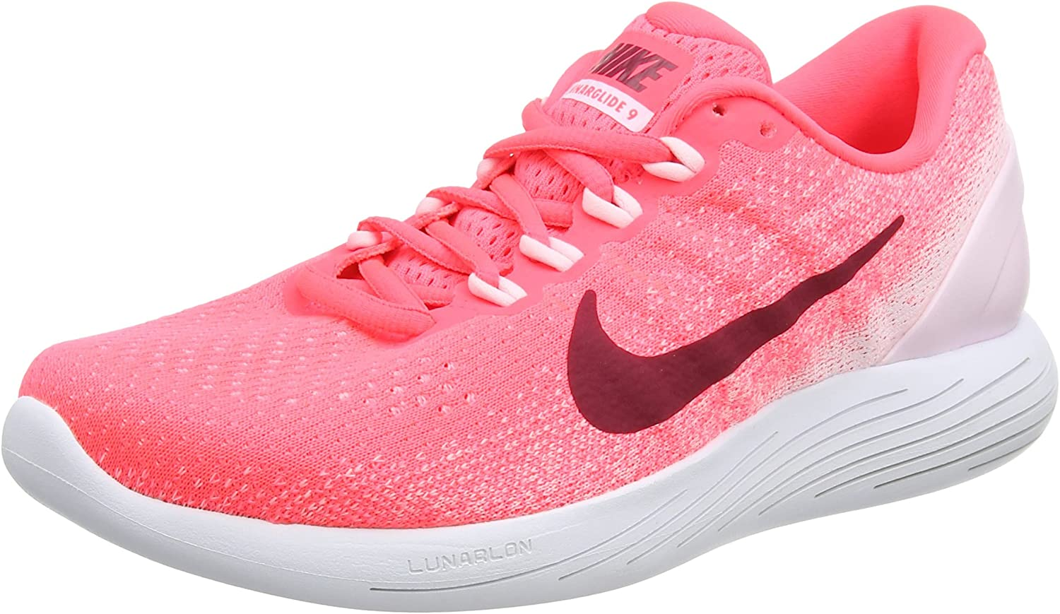 Nike Lunarglide 9, Zapatillas de Running para Mujer, Multicolor (Hot Punch/Noble Red-Arctic Pink-White), 36.5 EU