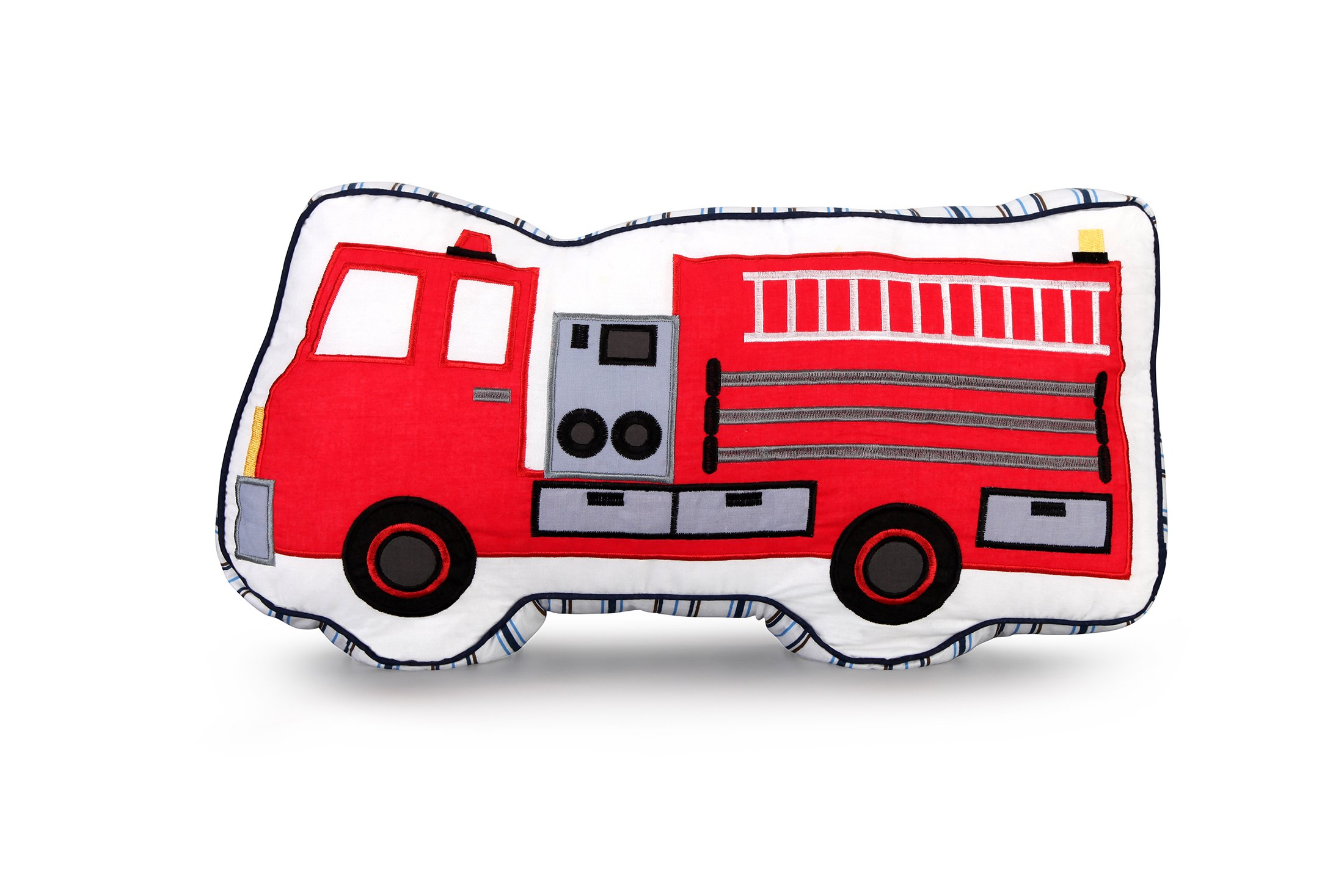 yiduyia Characteristic 100% Cotton Embroidery Fire Truck Pillows Kids Children Pillow, Ornaments for Children's Rooms and Car Cushions,Children's Toy Throw by yiduyia