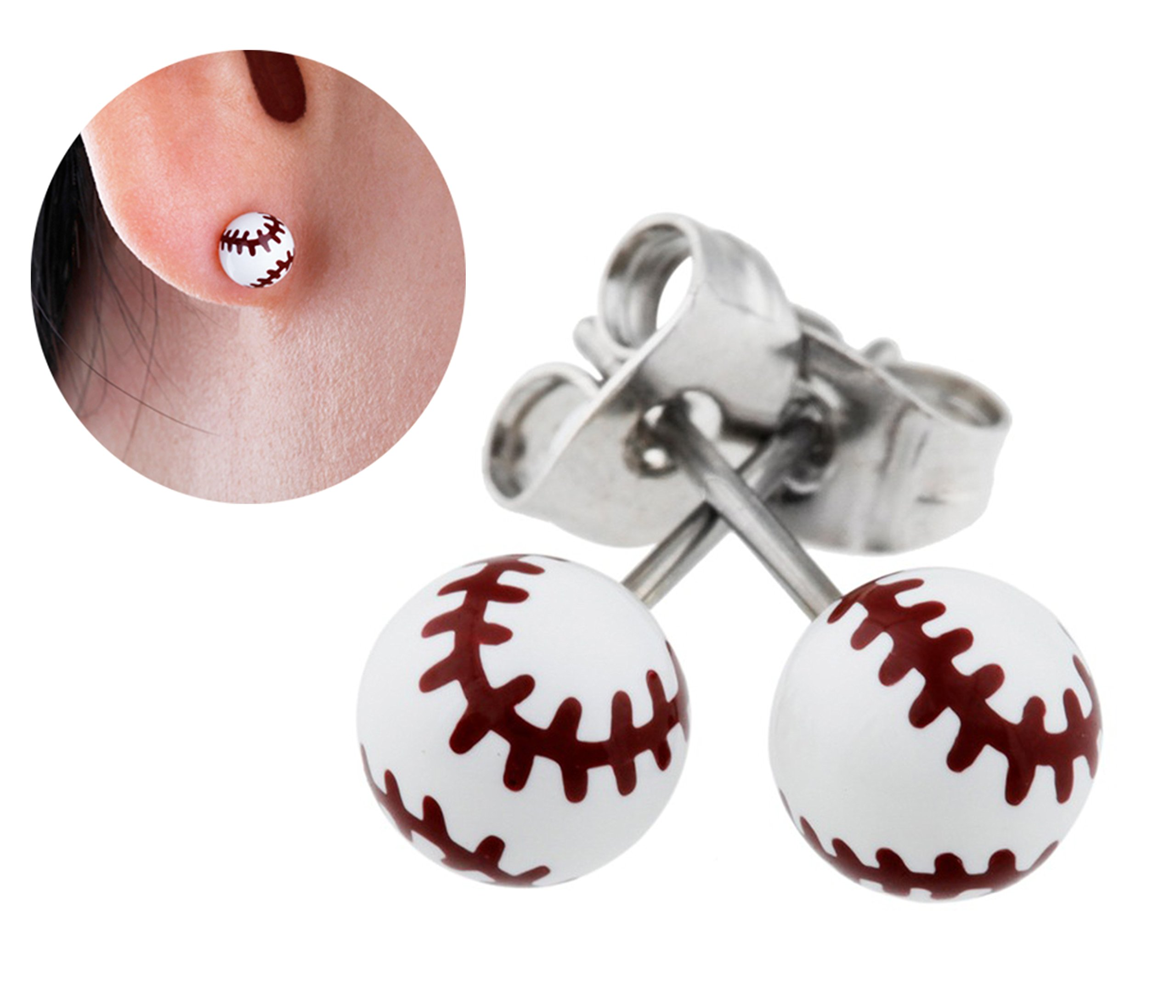 Best Wing Jewelry ''Tiny Baseball'' Stud Stainless Steel Post Earrings