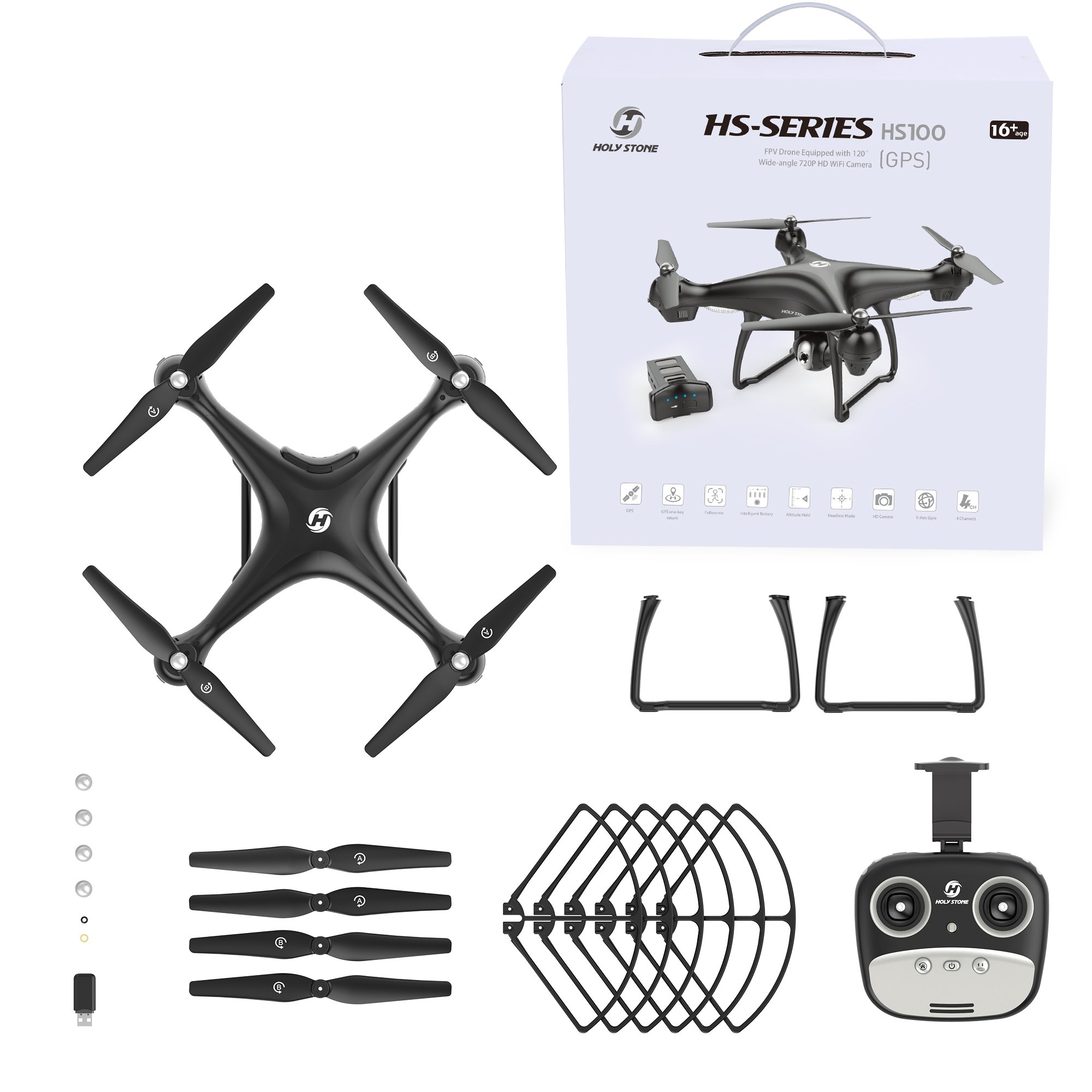 Holy Stone HS100 FPV RC Drone with Camera Live Video and GPS Return Home Quadcopter with Adjustable Wide-Angle 720P HD WIFI Camera- Follow Me, Altitude Hold, Intelligent Battery, Long Control Distance by Holy Stone (Image #9)
