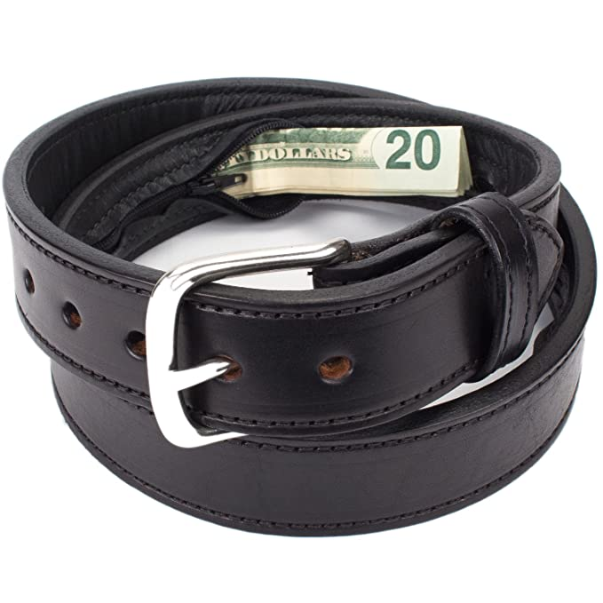 Hidden Money Pocket Travel Leather Belt (Size 44, Black) best travel belts