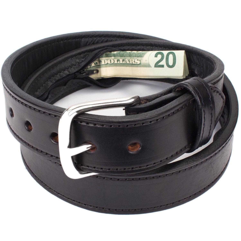 Hidden Money Pocket Travel Leather Belt (Size 36, Black)