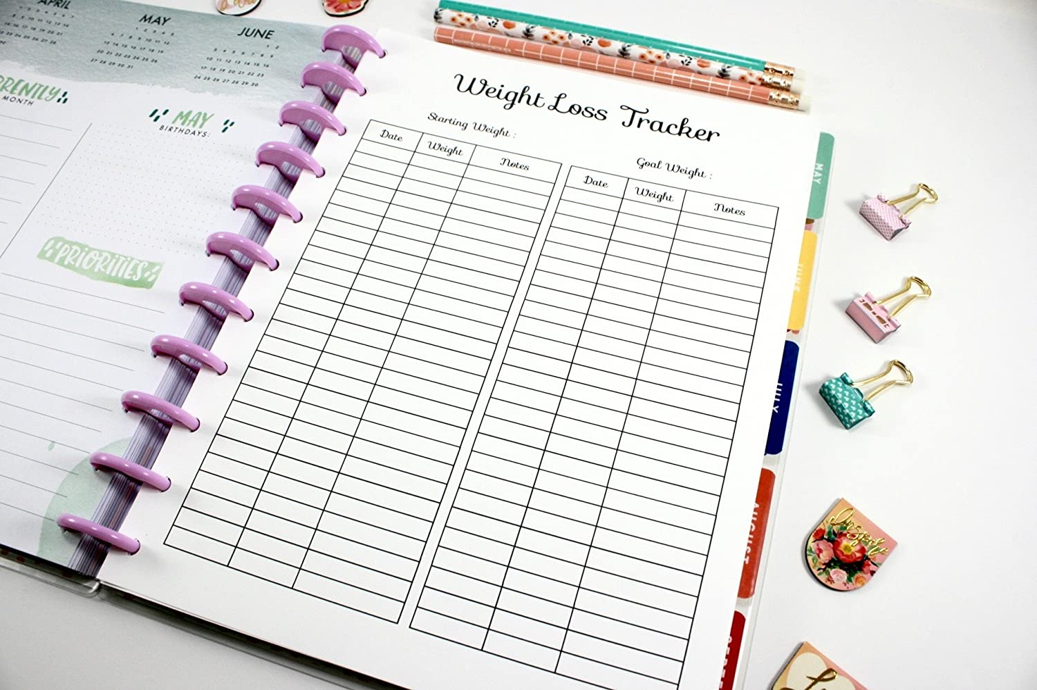 amazon com printed big happy planner weight loss tracker inserts