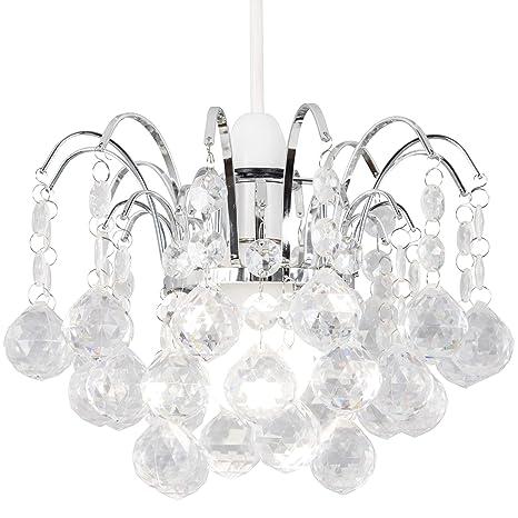 Light Mode - Lámpara de techo (con lágrimas de cristal acrílico), cromada