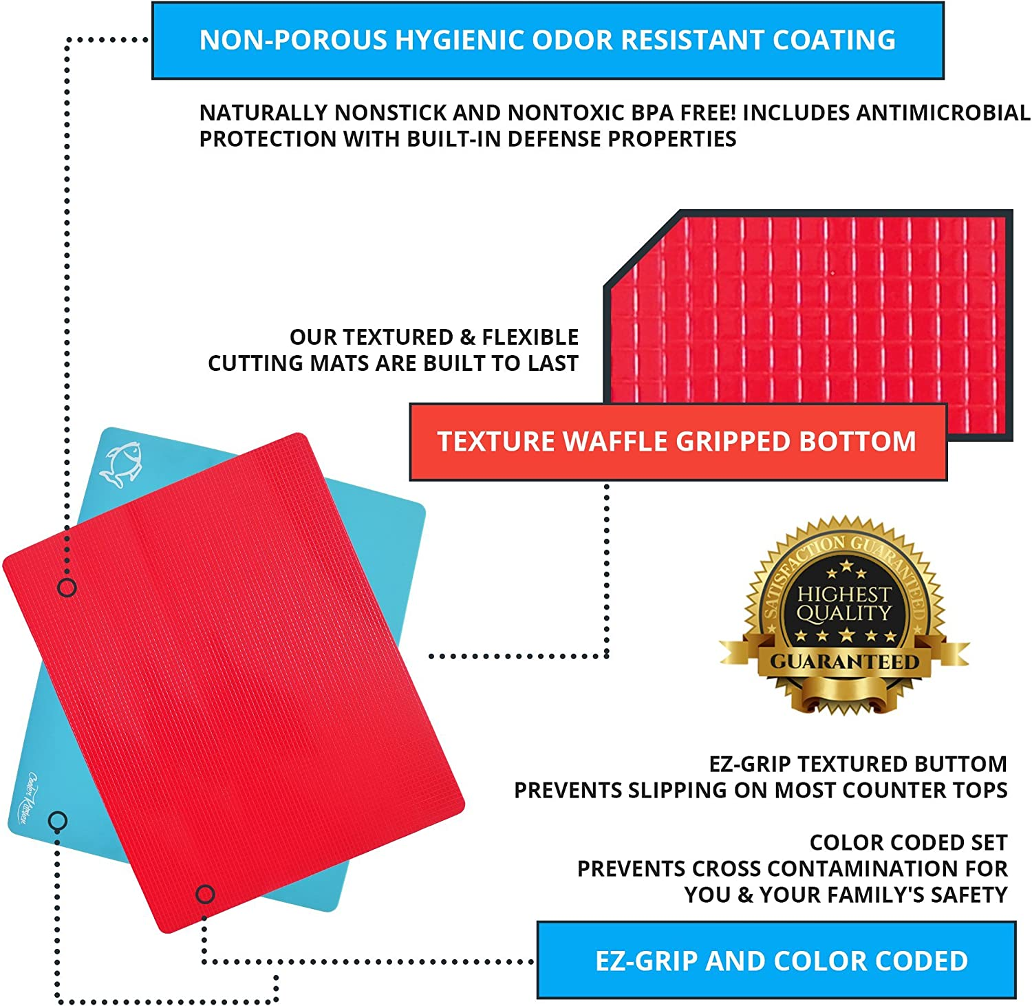 Plastic Cutting Board Mats with Food Icons & EZ-Grip Waffle Back, (Set of 4)