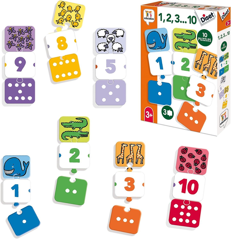 Diset-Aprendo años Juguete educativos 1, 2, 3.10 (68955)