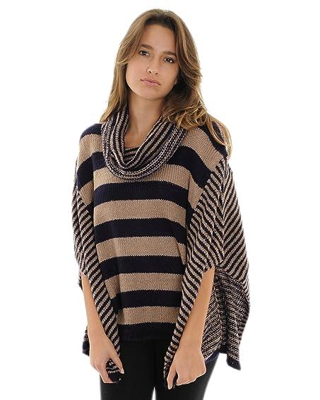 Cowl Neck Sweater Poncho Blue Beige Stripe Flat Knit Poncho ...