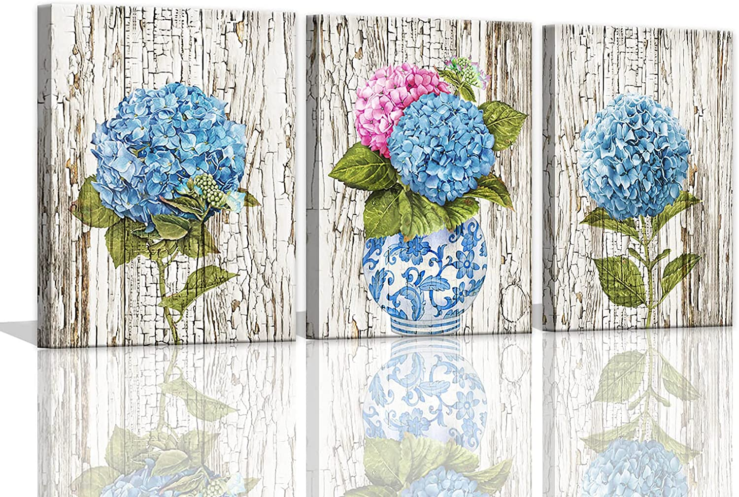 Rustic Wall Decor Watercolor Hydrangea Flower Wall Pictures for Bedroom Wall Art 3 Pieces Canvas Art for Women Kitchen Decor Country Theme Room Decorations Blue Artwork for Home Walls 12x16inchx3pcs
