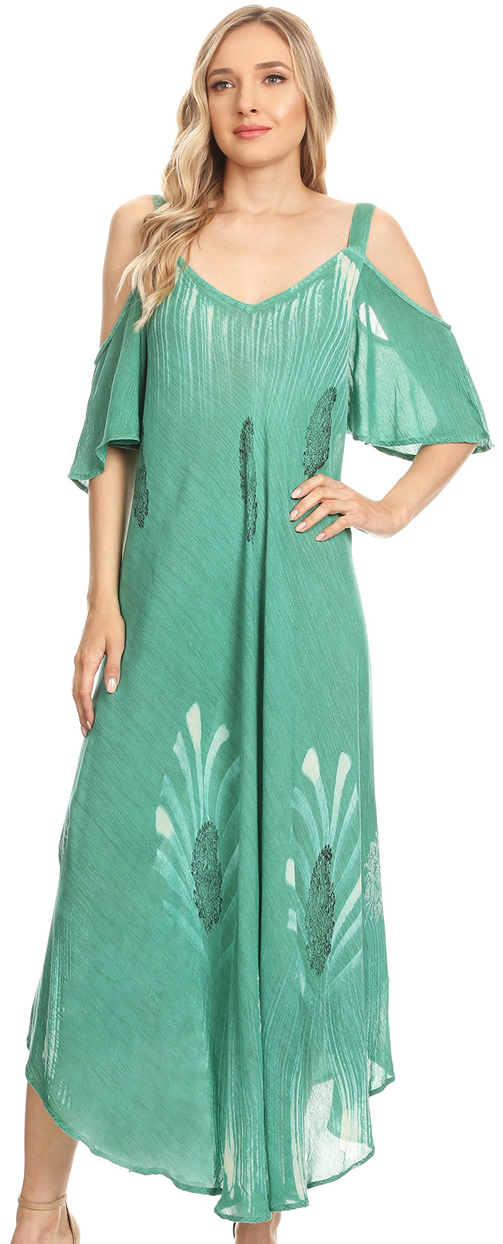 Sakkas 18155 - Renata Women's Cold Shoulder Maxi Caftan Dress Sundress Flare Stonewashed - Aqua - OS by Sakkas (Image #5)