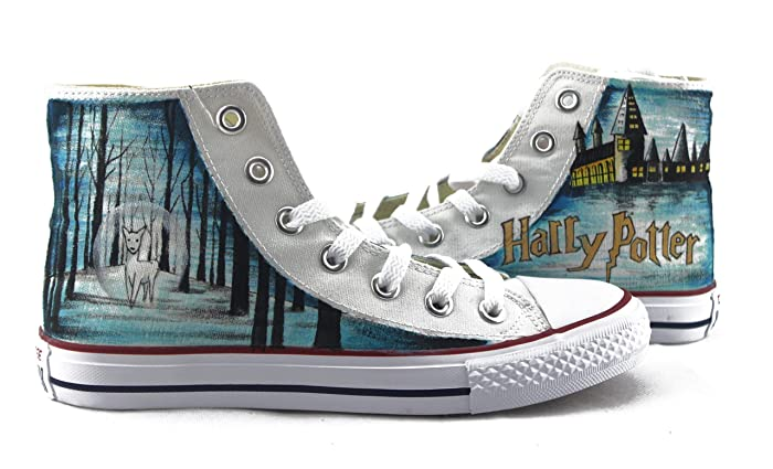 0a2eaa7e673d Amazon.com  Harry Potter Sneakers Hand Painted Shoes Custom Men Women Shoes  High Top Shoes Sneakers Chuck Men Women Fashion Shoes Free Shipping   Handmade