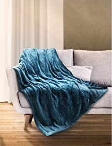 """Sable Heated Blanket Electric Throw, 50"""" x 60"""" Full Body Size Fast Heating Blankets Flannel, 10 Heating Levels 3 Hours Auto-Off ETL Certified Machine Washable (Blue)"""
