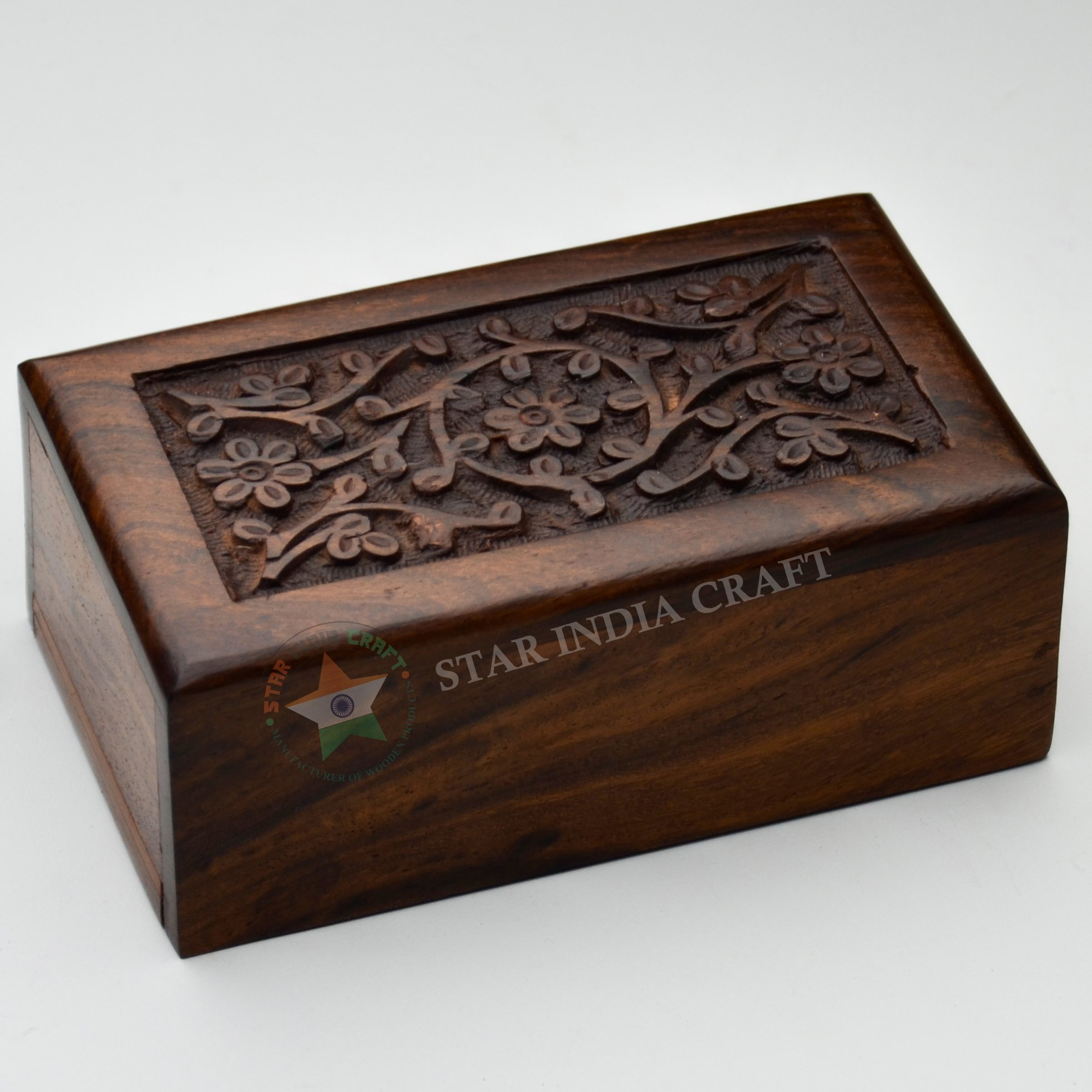 STAR INDIA CRAFT Hand Made Floral Engraving Handcarved Wood Urn by Wooden Urns for Human Ashes Adult (Medium - 6.5 x 4.25 x 2.75 inches)