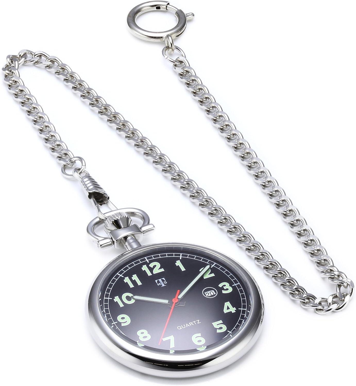 Reloj de Bolsillo MTS de Acero Inoxidable con Cadena - Impermeable - manecillas Luminosas y números Fecha