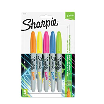 sharpie 1860443 neon permanent markers fine point assorted colors 5 count
