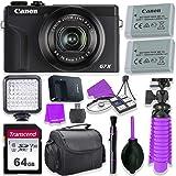 Canon PowerShot G7 X Mark III Camera w/ 1 Inch Sensor & 4k Video - Wi-Fi & Bluetooth Enabled (Black) & LED Video Light, 64GB
