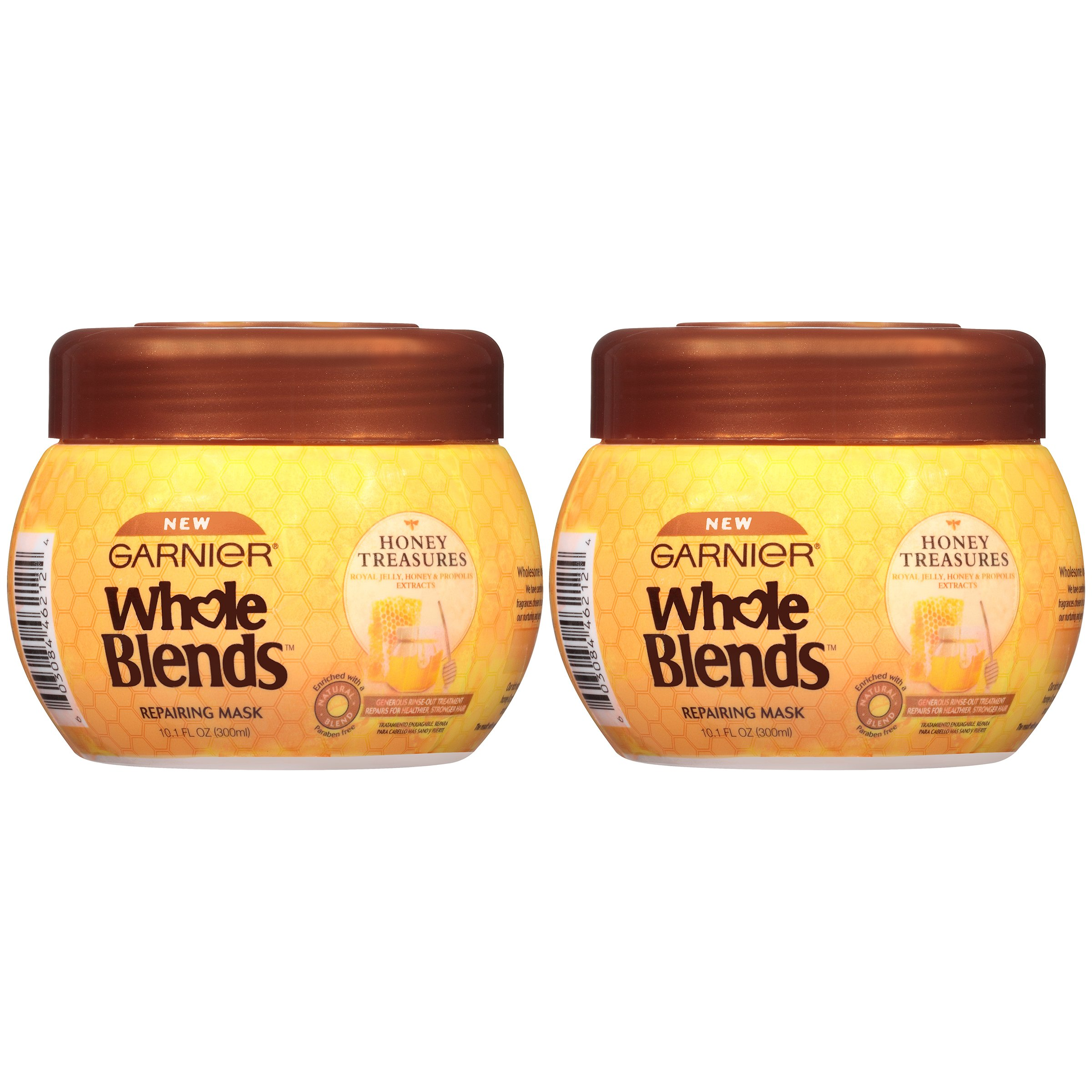 Garnier Whole Blends Honey Treasures Repairing Hair Mask for Dry Damaged Hair, 10.1 Ounce Jar, 2 Count