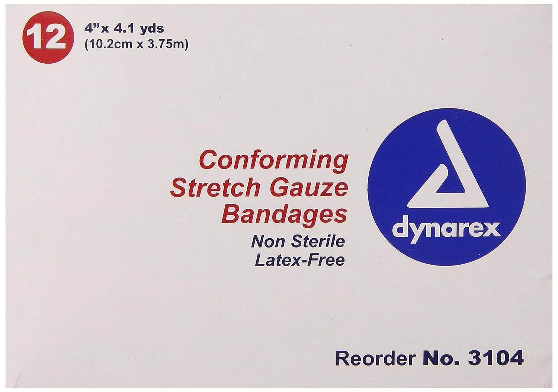 Dynarex conforming stretch gauze bandages, non-sterile 4 inchx4.1 yards - 12 rolls/box by Non Sterile Gauze Sponge   B005ESSE0Q