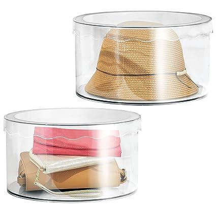 mDesign Juego de 2 cajas de plástico redondas con tapa – Prácticas cajas de almacenaje para