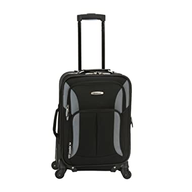 Rockland Luggage 19 Inch Expandable Spinner Carry On, Black/Gray, One Size