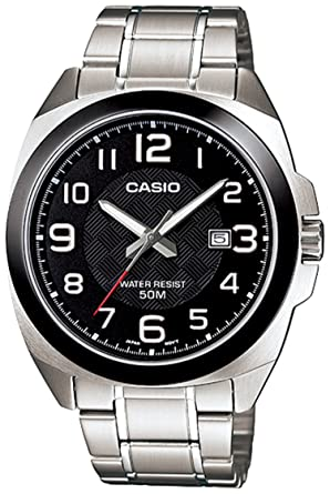 Casio Mens MTP1340D-1AV Silver Stainless-Steel Quartz Watch with Black Dial